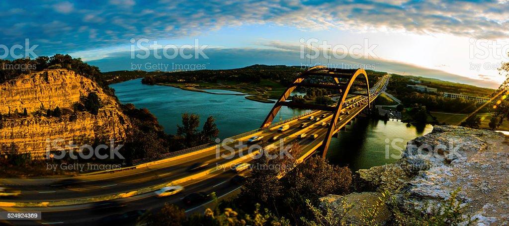 PennyBacker 360 Bridge Panoramic Huge View Sunset stock photo