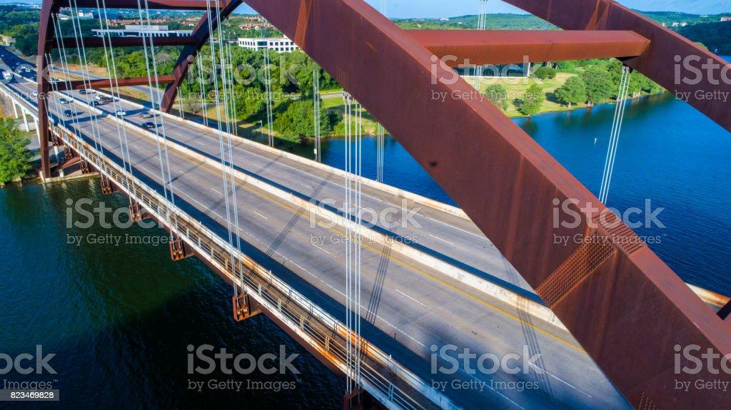 Pennybacker Bridge at Sunrise in Austin , Texas or 360 Birdge Overlook Deep Perspective Rusty Urban Architecture stock photo