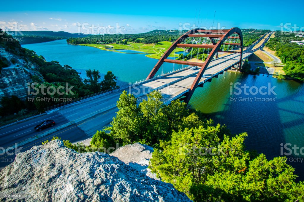 Pennybacker Bridge at Sunrise in Austin , Texas or 360 Birdge Overlook Summertime Green Landscape stock photo
