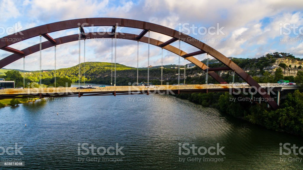 Pennybacker Bridge at Sunrise in Austin , Texas or 360 Birdge Overlook Urban Side Angle Rusty and Rustic stock photo