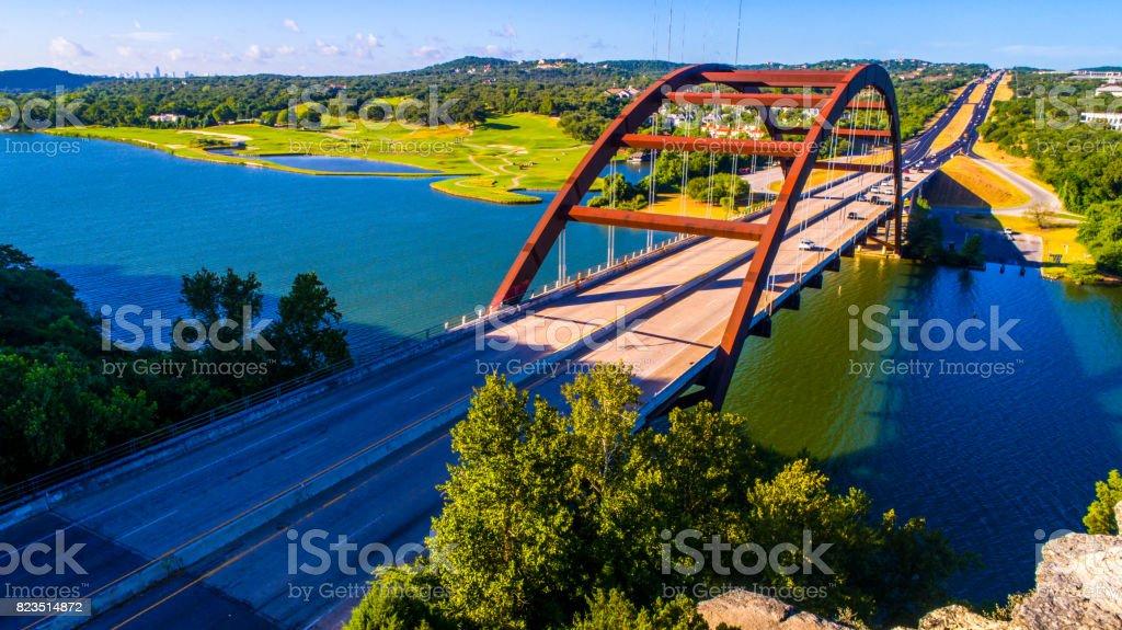 Pennybacker Bridge at Sunrise in Austin , Texas or 360 Bridge Overlook Classic Colorful Summer Angle stock photo