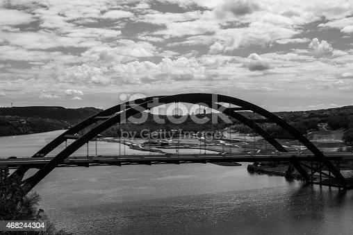 istock Pennybacker Bridge Black and white Side Angle 468244304
