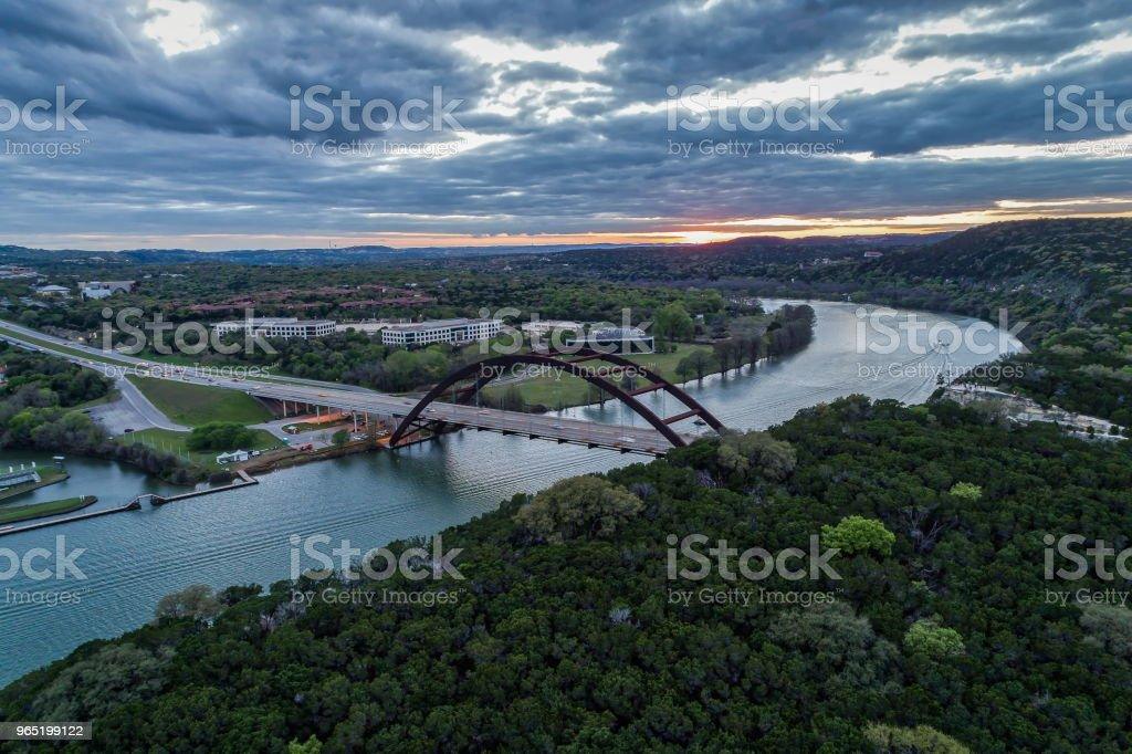 Pennybacker Bridge in Austin, Texas During Sunset royalty-free stock photo