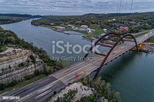 Pennybacker Bridge In Austin Texas Stock Photo & More Pictures of Aerial View