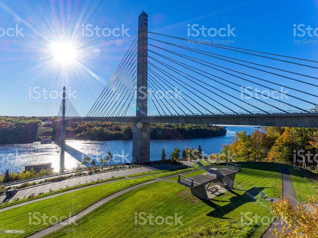 Penobscot Narrows Bridge and Observatory Maine Penobscot River and Bay stock photo