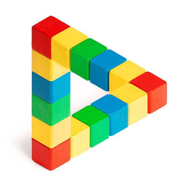 penrose triangle - triangle shape stock photos and pictures
