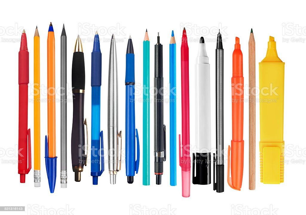 Pens and pencils stock photo