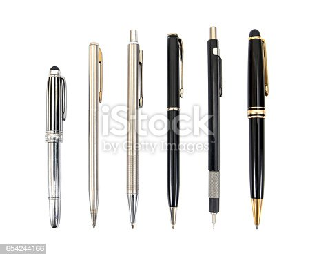 istock Pens collection isolated on white.Pens isolated 654244166