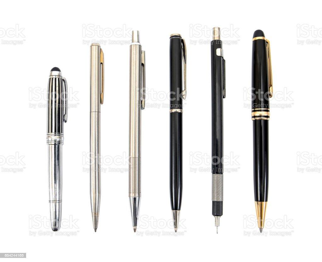 ペンのコレクションは、白で隔離。分離されたペン ストックフォト