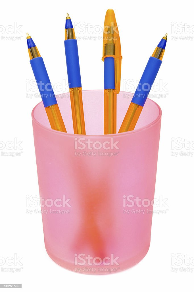 Pens in container royalty-free stock photo