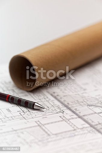 istock Pens on an architect project 623908482