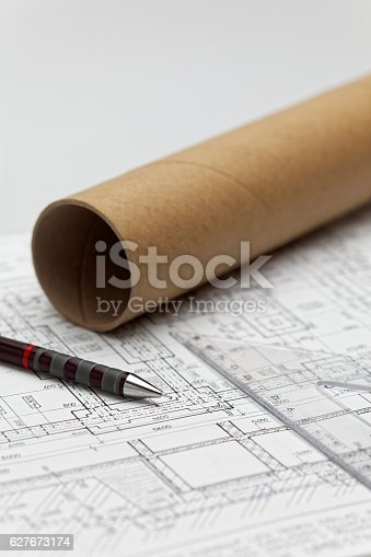 istock Pens on an architect project 627673174