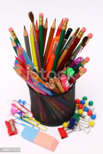 171366630 istock photo Pens, pencils, markers in holder 450477513