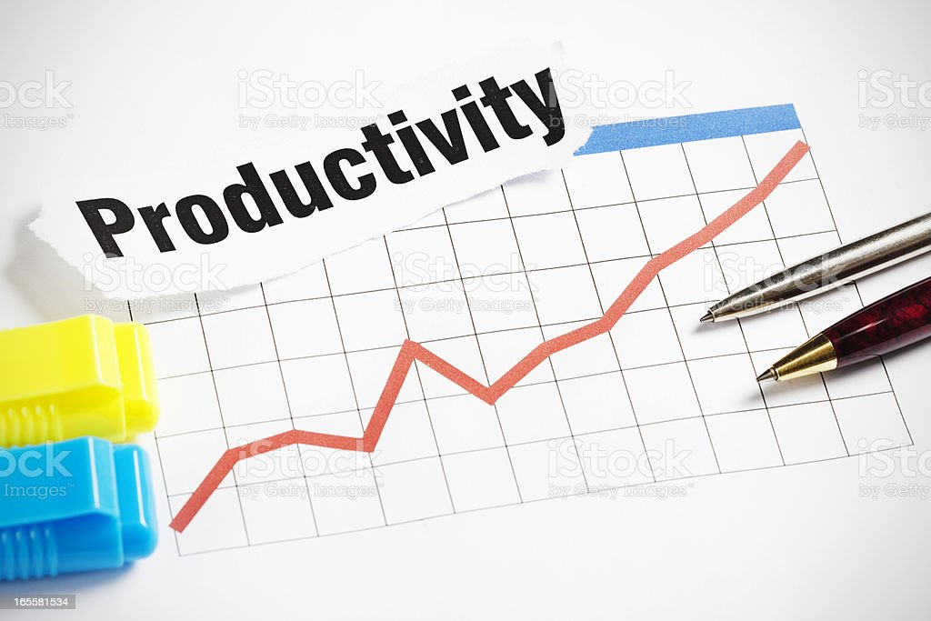 """Pens rest on rising red graph and """"Productivity"""" headline royalty-free stock photo"""