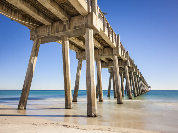 Pensacola Fishing Pier Seascape stock photo
