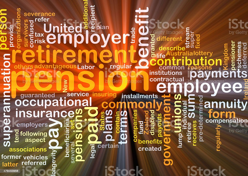 Pension background concept glowing stock photo