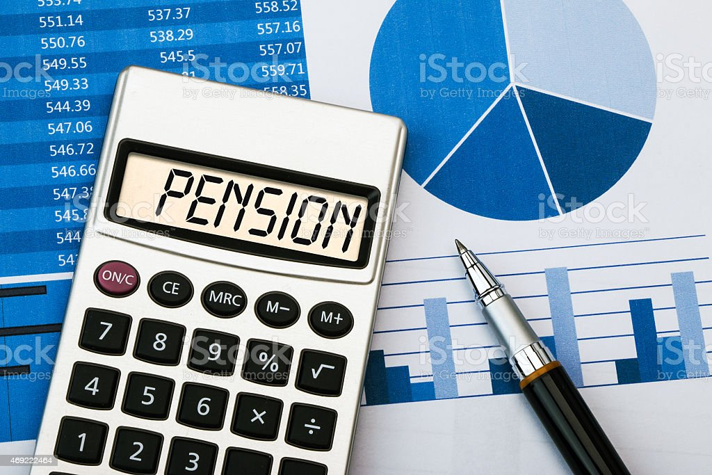 pension displayed on calculator stock photo