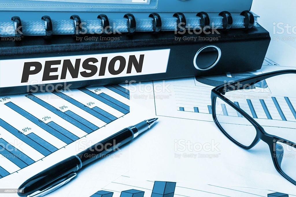 pension on document folder stock photo