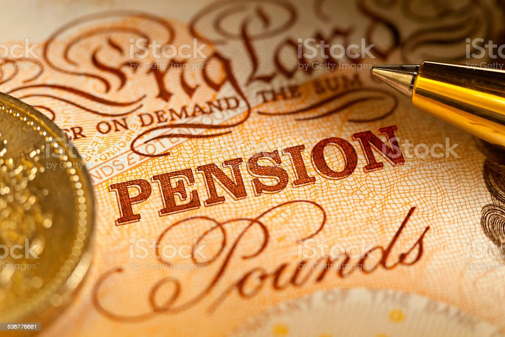 UK Pension Pounds stock photo