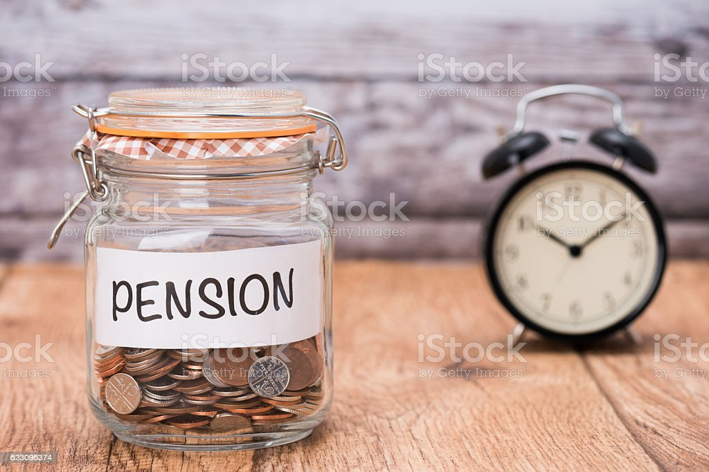Pension savings fund stock photo