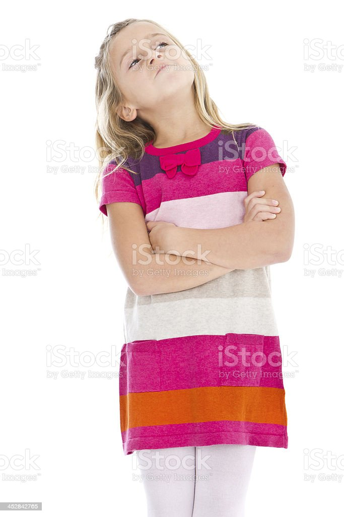 Pensive adorable little girl royalty-free stock photo