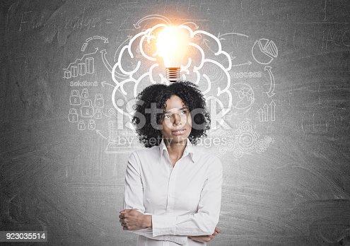istock Pensive African American businesswoman brain, idea 923035514