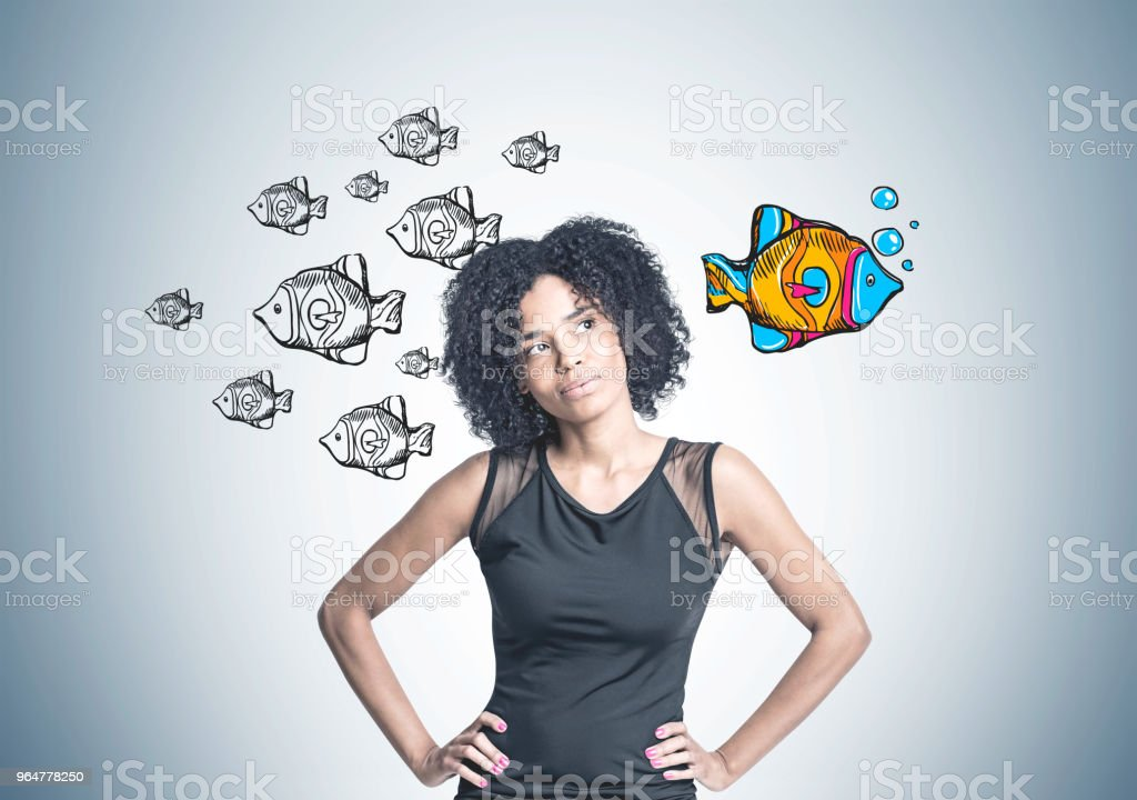Pensive African American businesswoman, unique way royalty-free stock photo