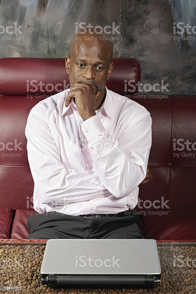 Pensive african guy royalty-free stock photo