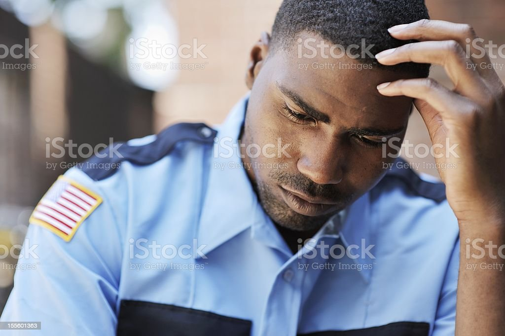 Pensive American Security Officer royalty-free stock photo