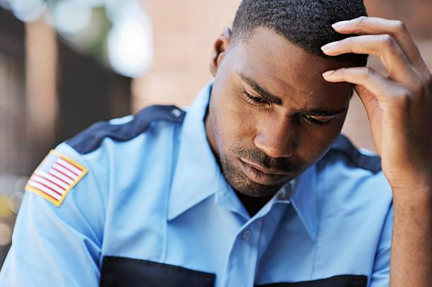 Pensive American Security Officer stock photo