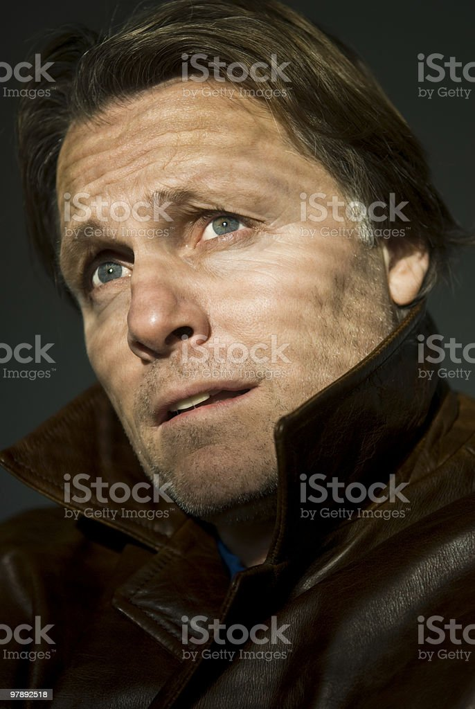 pensive anxious looking man royalty-free stock photo