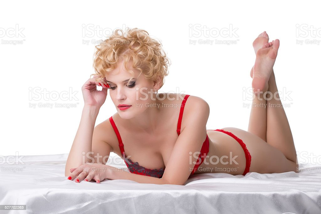 Blonde red lingerie bed