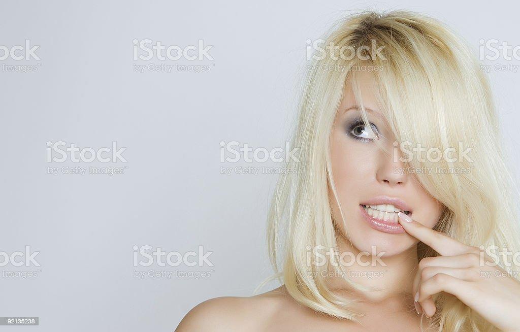 Pensive blonde royalty-free stock photo