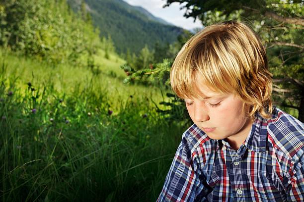 Pensive boy in meadow stock photo