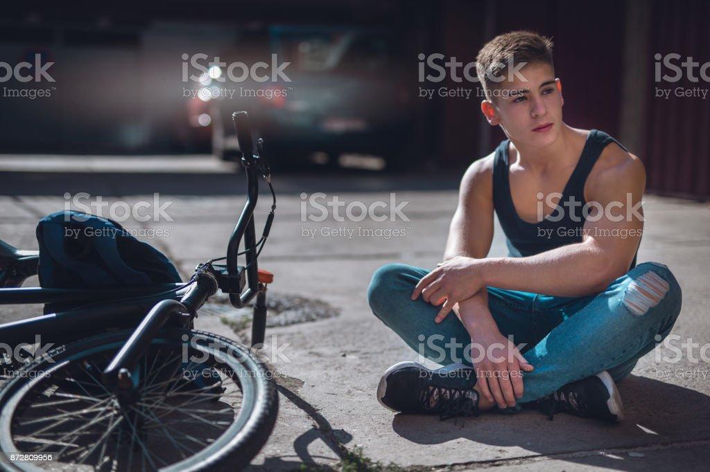 Pensive boy stock photo