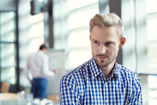 Pensive Businessman In The Office Stock Photo - Download Image Now