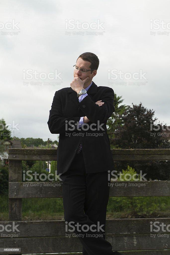 Pensive businessman waiting stock photo