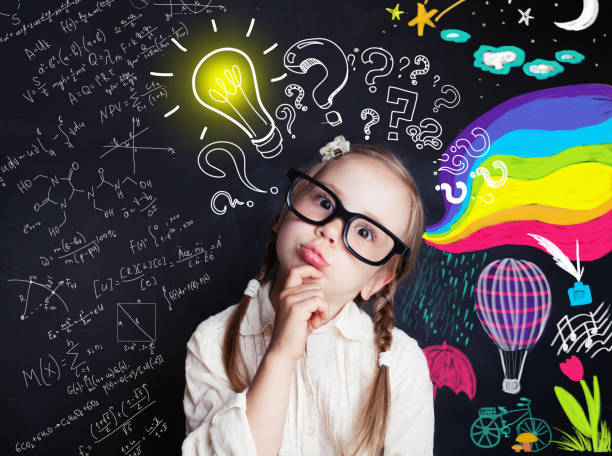 pensive child school student with yellow lightbulb and school and childhood supplies design elements. child ideas and development concept - intelligence stock pictures, royalty-free photos & images