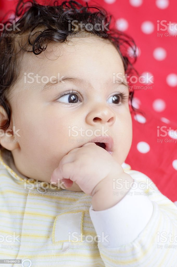 Pensive Five Months Old Baby girl. royalty-free stock photo