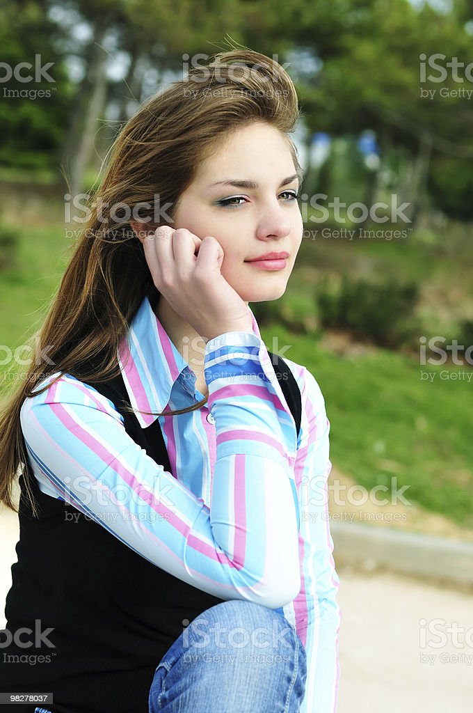pensive girl royalty-free stock photo