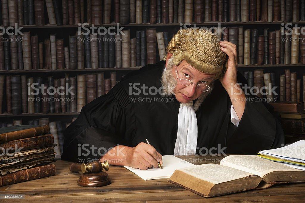 Pensive judge royalty-free stock photo