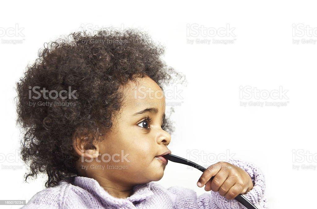 Pensive little girl stock photo