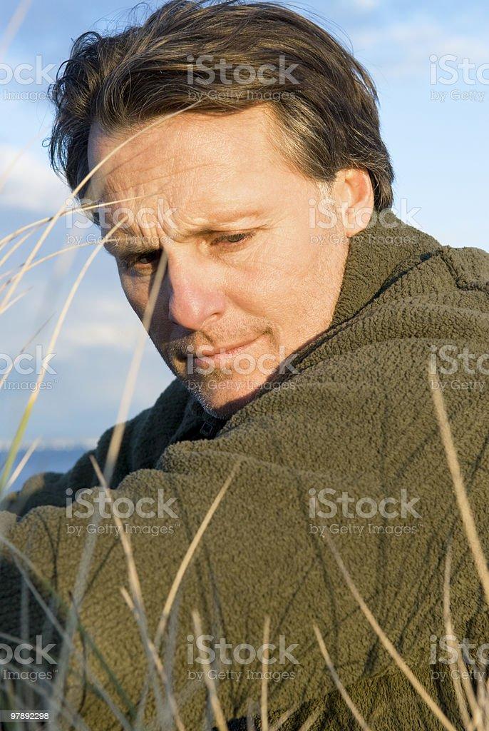 Pensive looking forties man. royalty-free stock photo