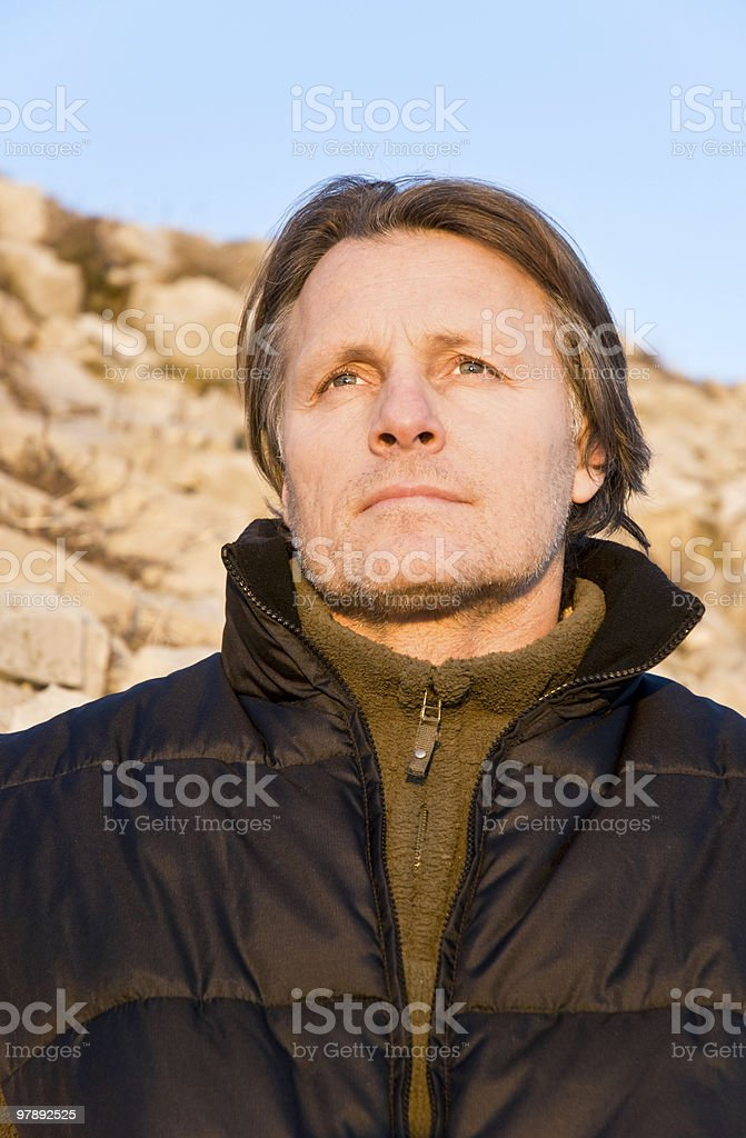 pensive looking outdoor man in forties royalty-free stock photo