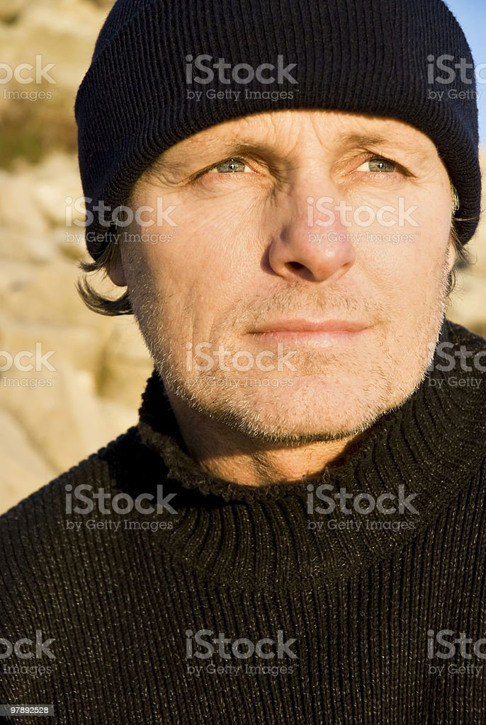 pensive looking outdoor man royalty-free stock photo