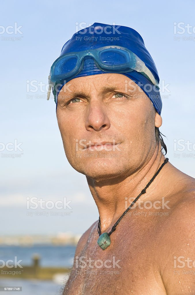 Pensive looking swimmer royalty-free stock photo