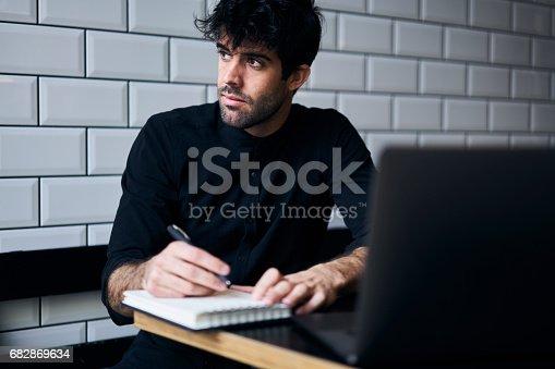 istock Pensive male author 682869634