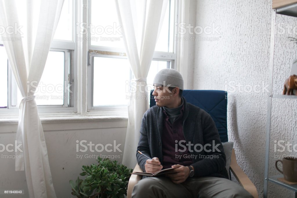 Pensive man stock photo