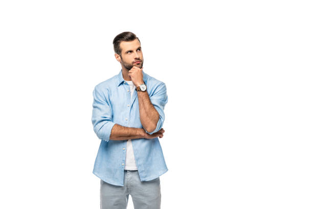 pensive man touching chin Isolated On White with copy space stock photo