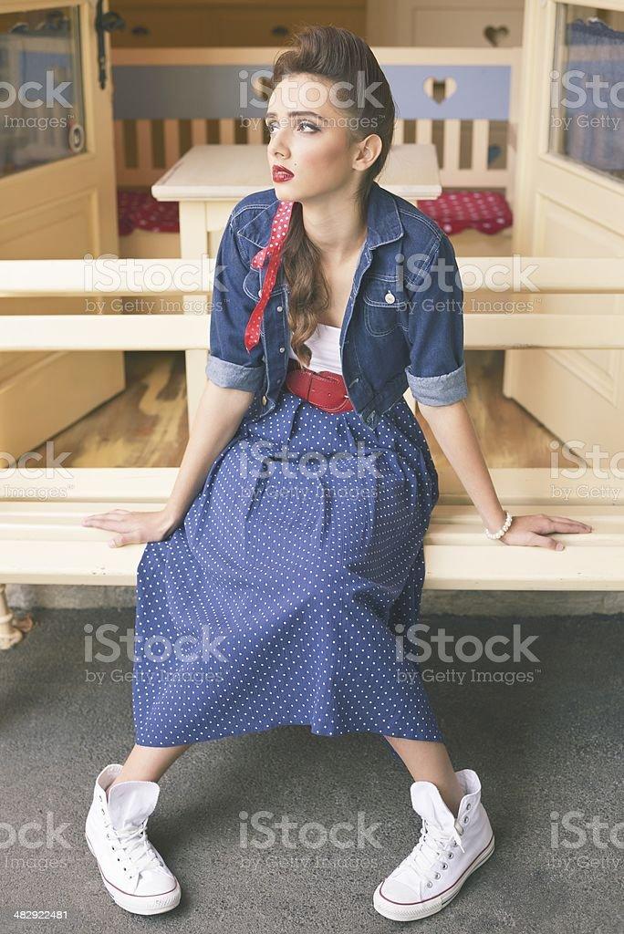 Pensive Retro Fashion Girl royalty-free stock photo